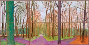 """Woldgate Woods, 30 March–21 April,"" oil on 6 canvases (36"" x 48"" each), 72"" x 144"""