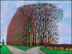 """Bigger Trees Nearer Warter,"" winter 2008, oil on 9 canvases (36"" x 48"" each), 108"" x 144"""