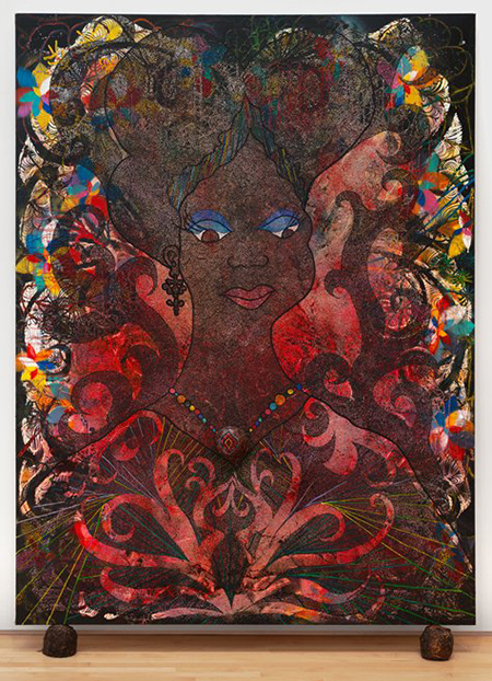 "Chris Ofili, ""Princess of the Posse,"" 1999, acrylic, collage, glitter, resin, map pins and elephant dung on canvas, 96 x 72"". Collection SFMOMA, © Chris Ophili"