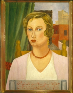 "Frida Kahlo, ""Retrato de Mrs. Jean Wright, oil on canvas, 25"" x 18"", 1931, featured at the John Berggruen Gallery"