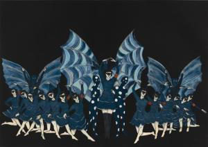 "Marcel Dzama, ""Here's a Fine Revolution,"" color spit bite aquatint, with aquatint and soft ground etching, 21 1/2"" x 30 3/4"", 2015"
